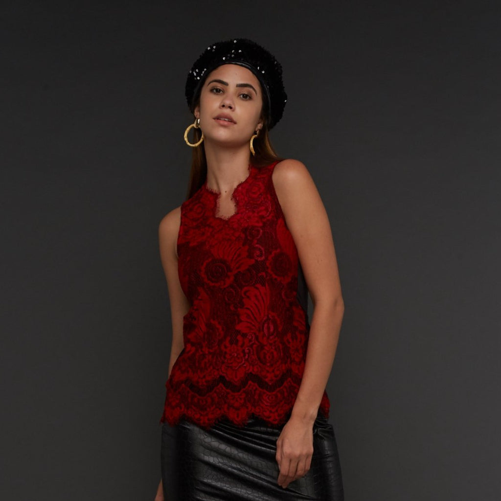 Pretty Lace sleeveless top in Red (4337053990935)
