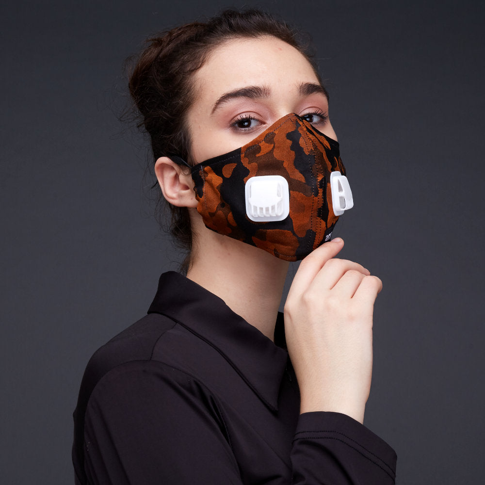Army Orange Facemask With Air Valve-2MADISONAVENUE.COM