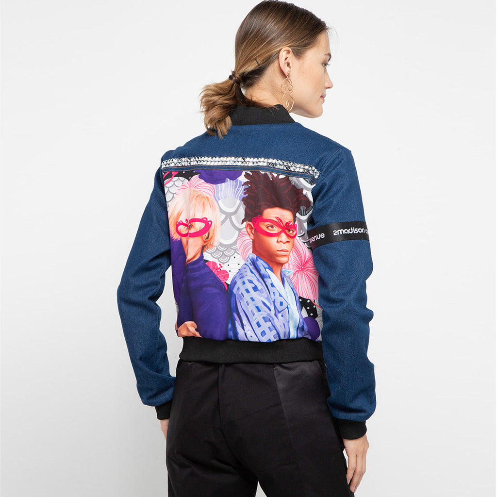 Varsity Denim Jacket Recharging With The Artist Art