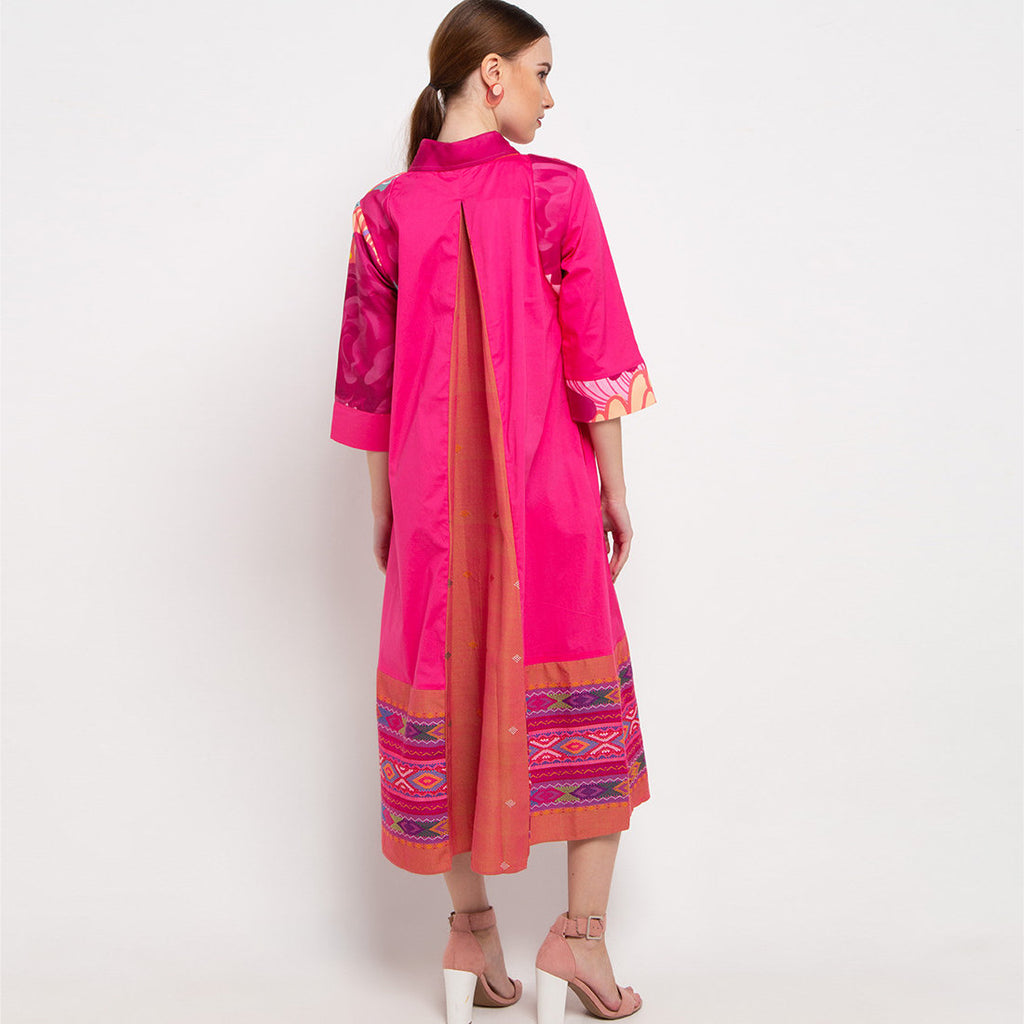Bright Me Dress With Ulos in Pink-2MADISONAVENUE.COM