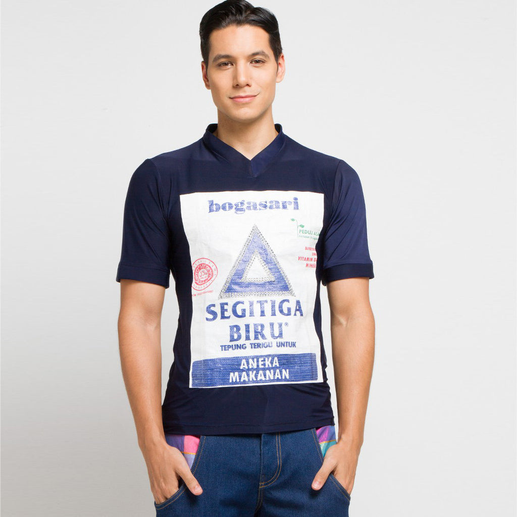 Go Green Man Shirt in Navy With Segitiga Short Sleeve-2MADISONAVENUE.COM (4327986790423)