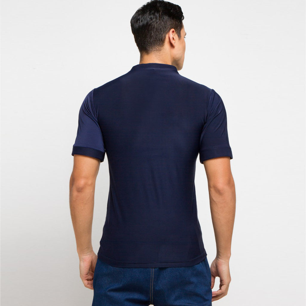 Go Green Man Shirt in Navy With Segitiga Short Sleeve-2MADISONAVENUE.COM