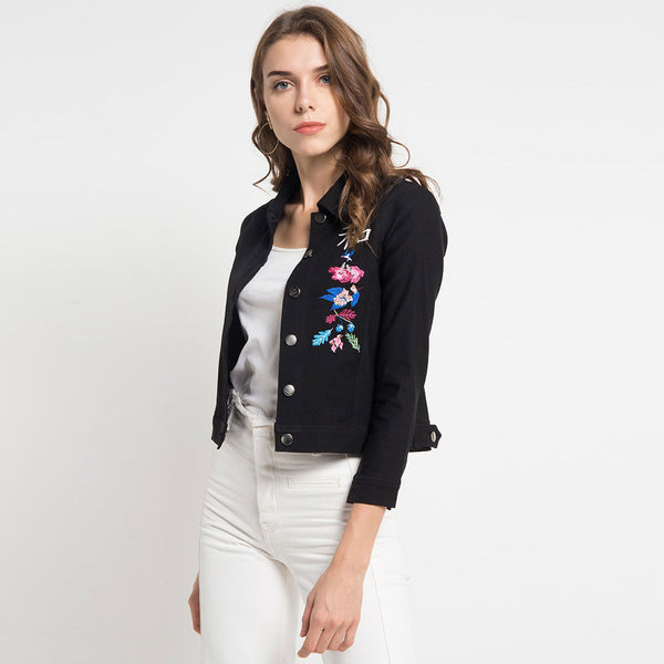 Black Jacket with Flower From The East Embroidery-2MADISONAVENUE.COM