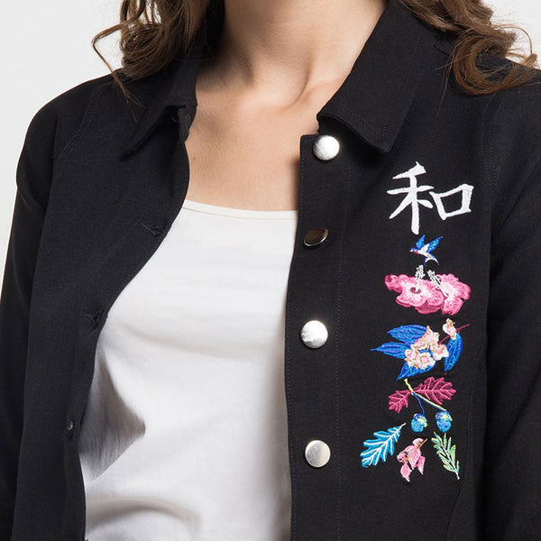 Black Jacket with Flower From The East Embroidery-2Madison Avenue Indonesia