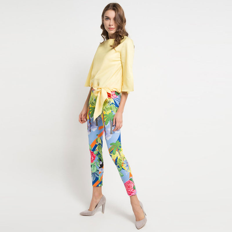 Cotton Blouse Miami with Bow Tie in Yellow-2MADISONAVENUE.COM