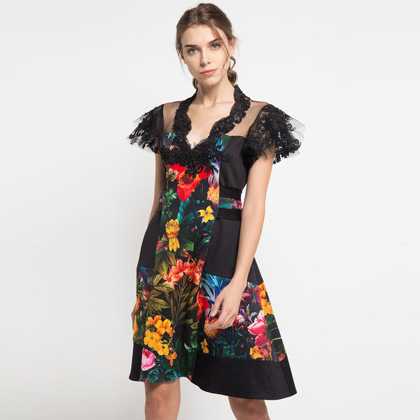 Mi Miami Black Jennifer Dress with Lace-2Madison Avenue Indonesia