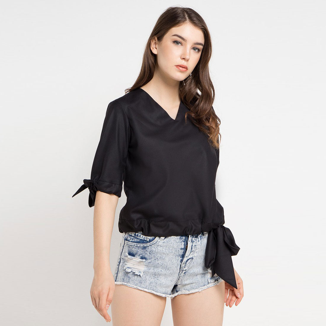 Cotton Blouse with Bow Tie in Black-2Madison Avenue Indonesia