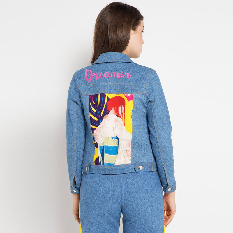Fancy Denim Jacket with Flower From The East Art-2MADISONAVENUE.COM