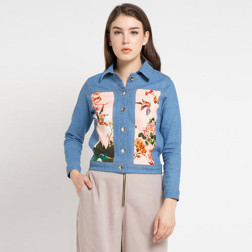 Fancy Denim Jacket with Paradiso Salmon Art-2Madison Avenue Indonesia