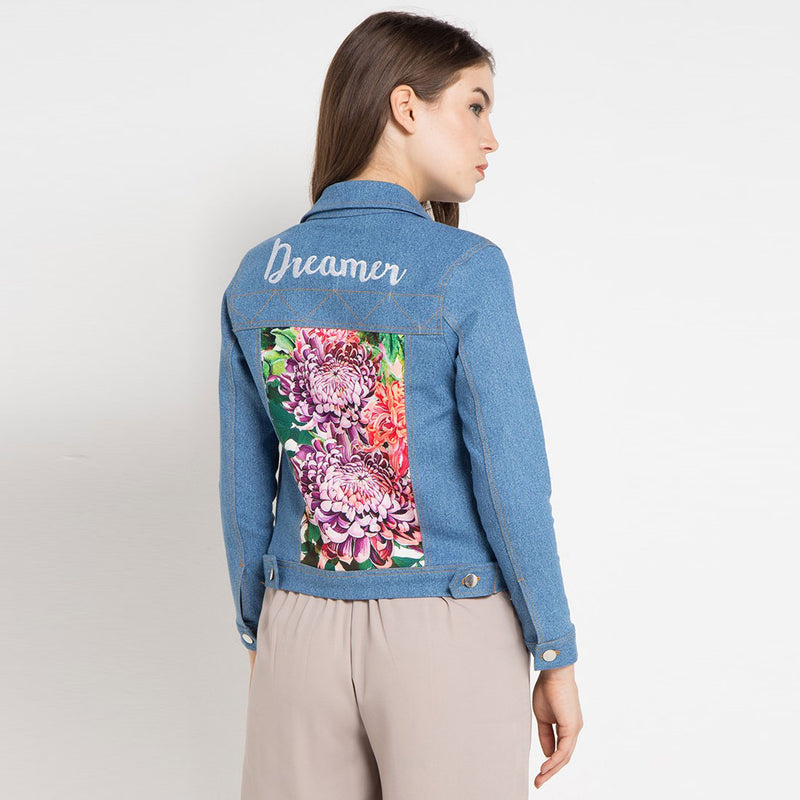 Fancy Denim Jacket with Paradiso Salmon Art-2MADISONAVENUE.COM