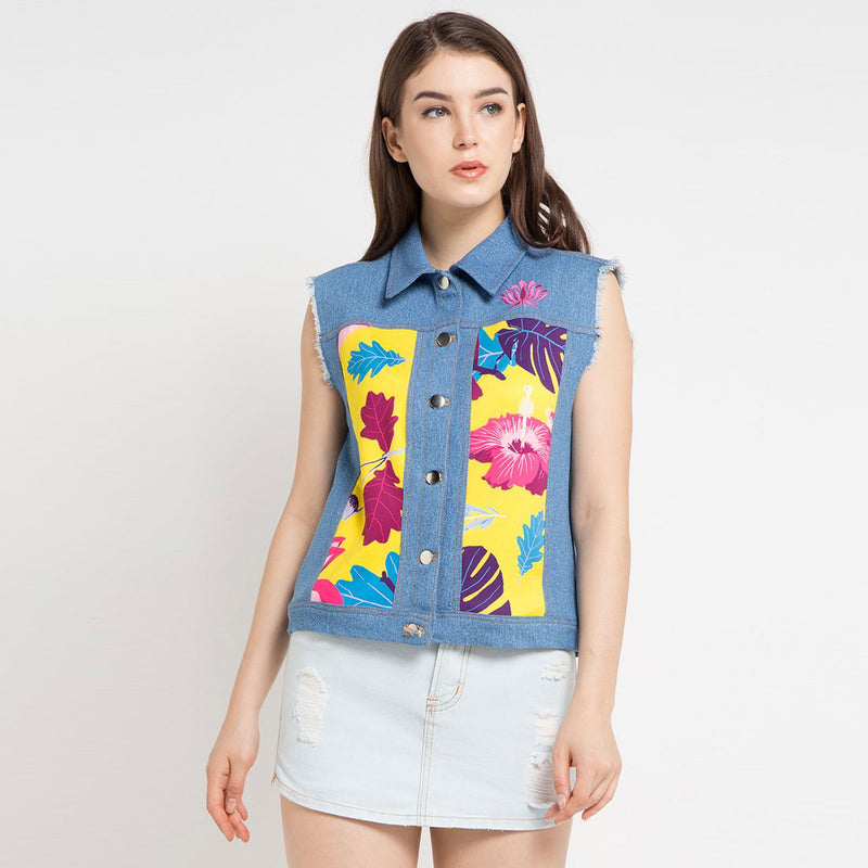 Boho Chic Vest Denim with Flower From The East Art-2MADISONAVENUE.COM