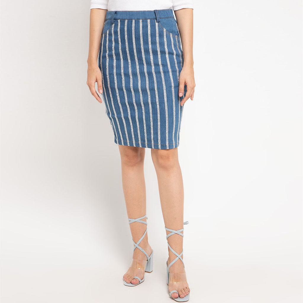 Vivify Denim Skirt With MetalicAccent-2MADISONAVENUE.COM