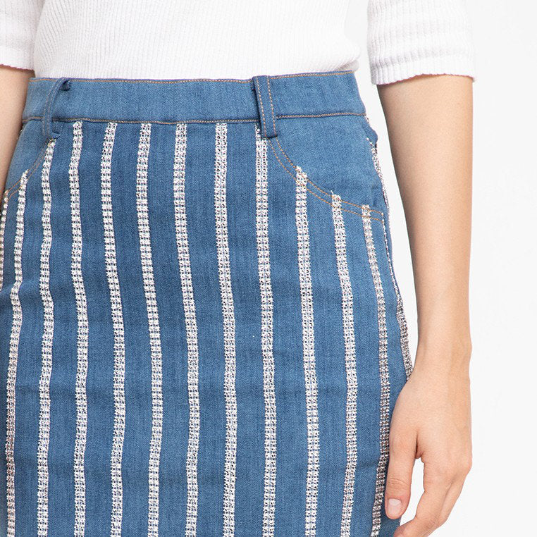 Vivify Denim Skirt With MetalicAccent
