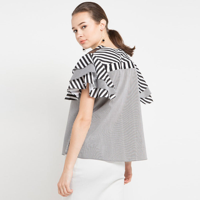 Blouse with Tulle Accent-2MADISONAVENUE.COM
