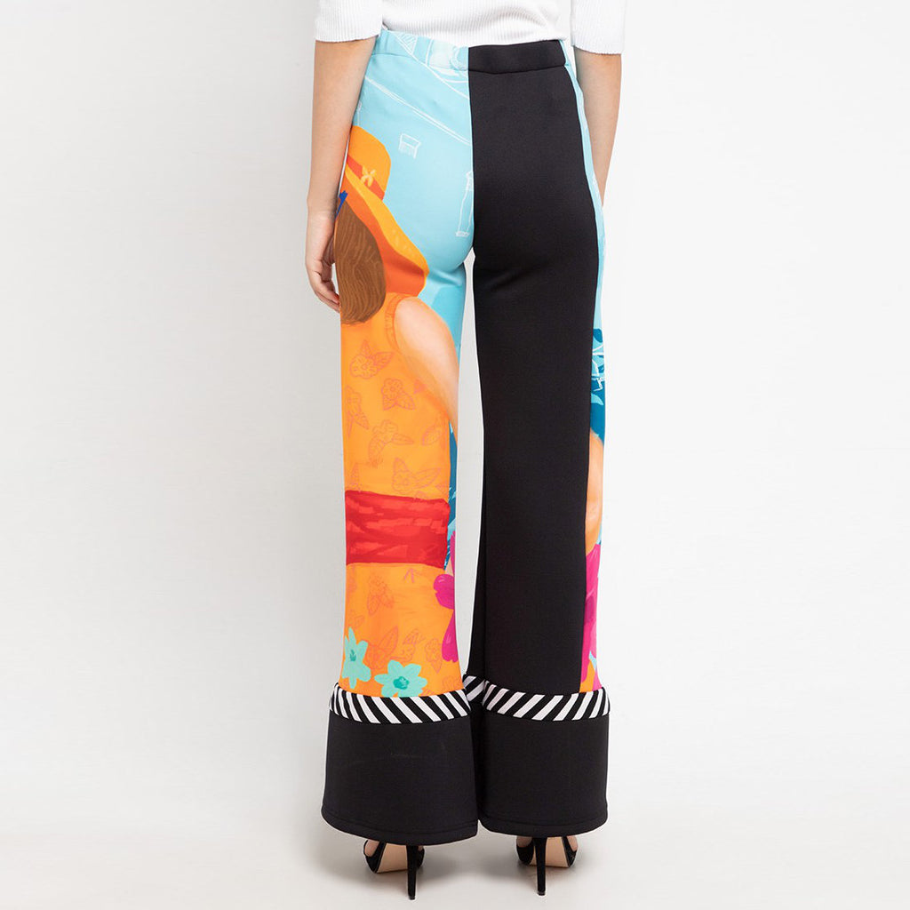 Basic Cullotes Pant With Bianca Art-2MADISONAVENUE.COM