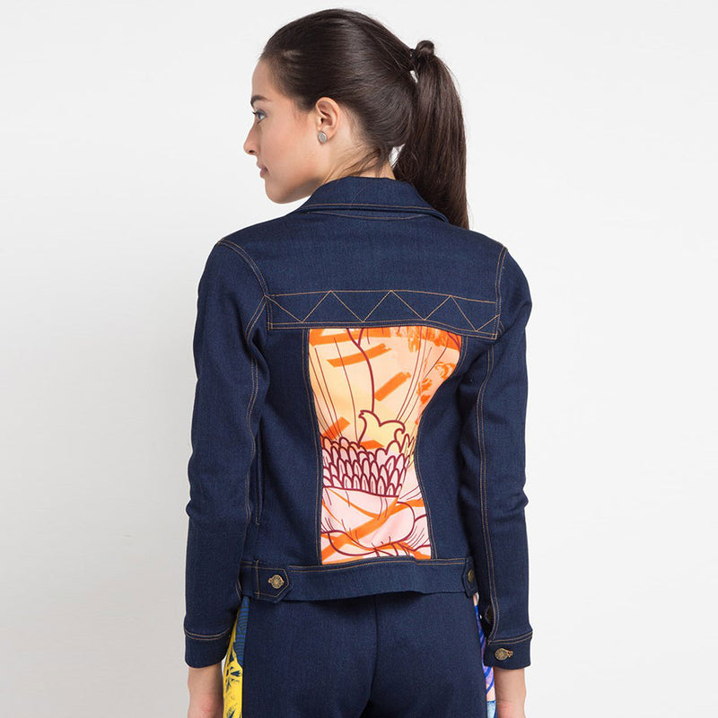 Boho Chic Denim Jacket with Orbital Orange-2MADISONAVENUE.COM