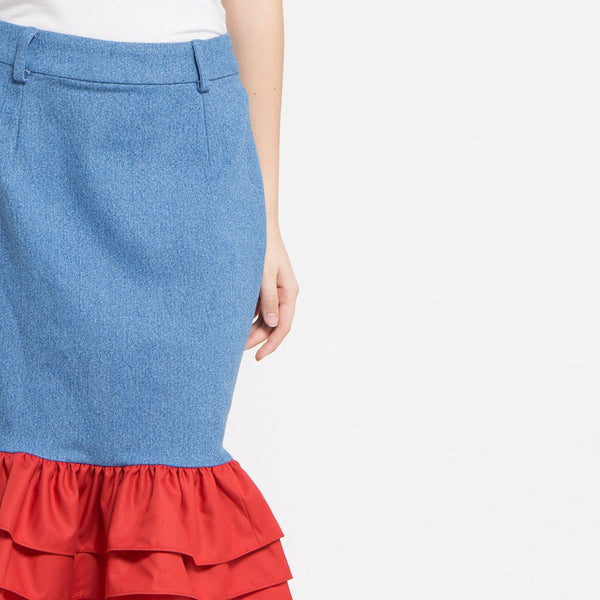 Fancy Short Denim Skirt-2MADISONAVENUE.COM