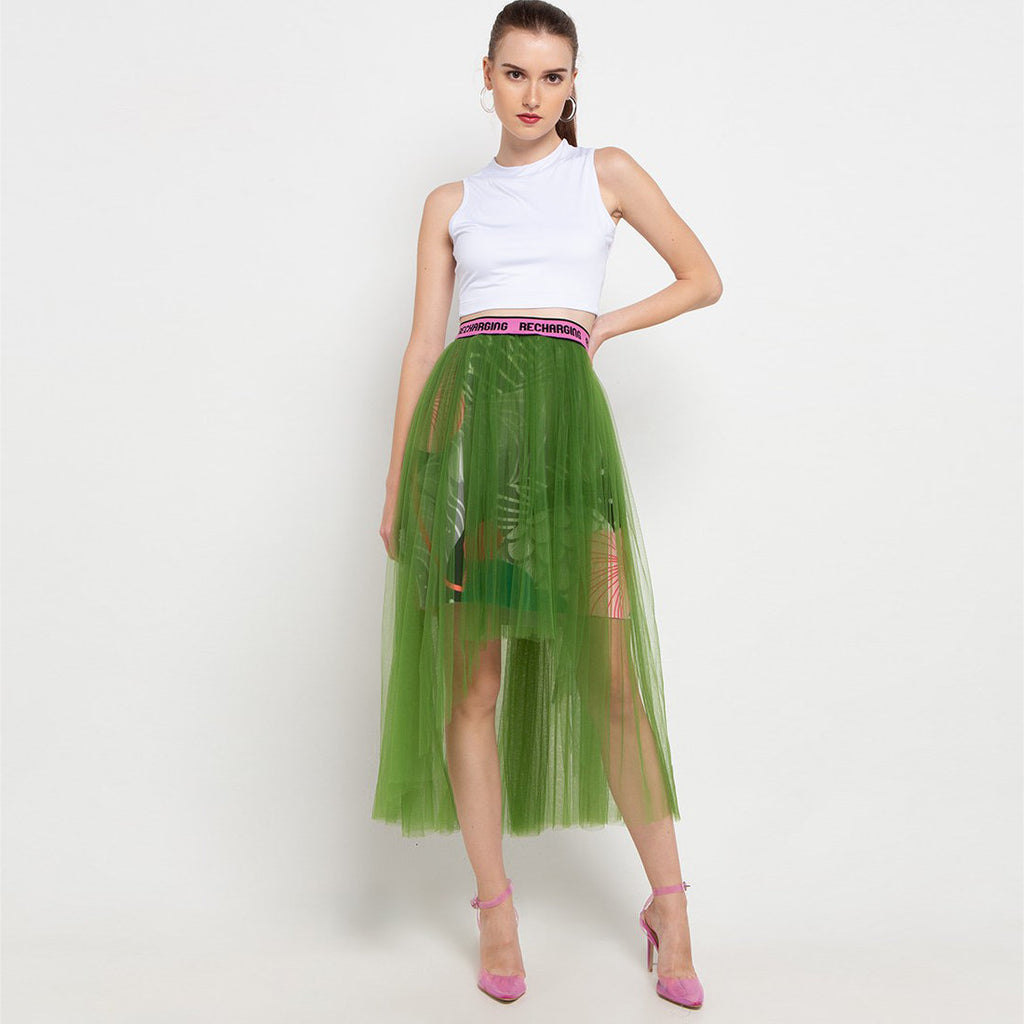 Fancy Long Skirt With Tulle in Green-2MADISONAVENUE.COM