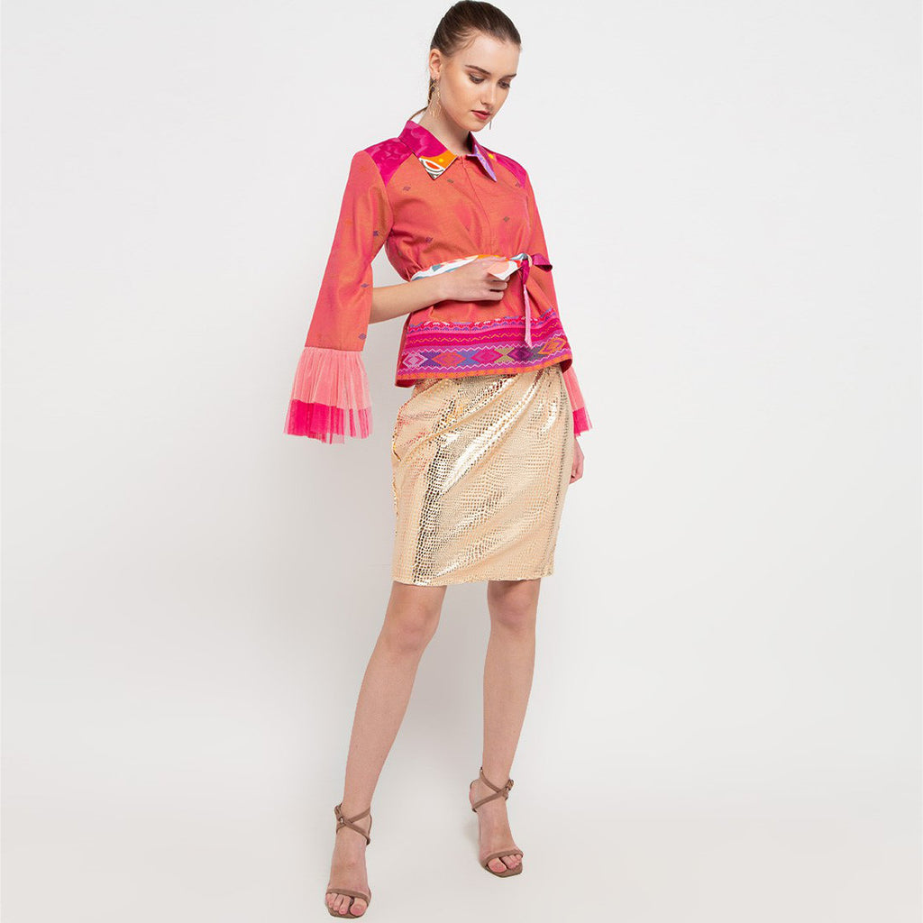 Me Statement Top With Ulos in Salmon-2MADISONAVENUE.COM