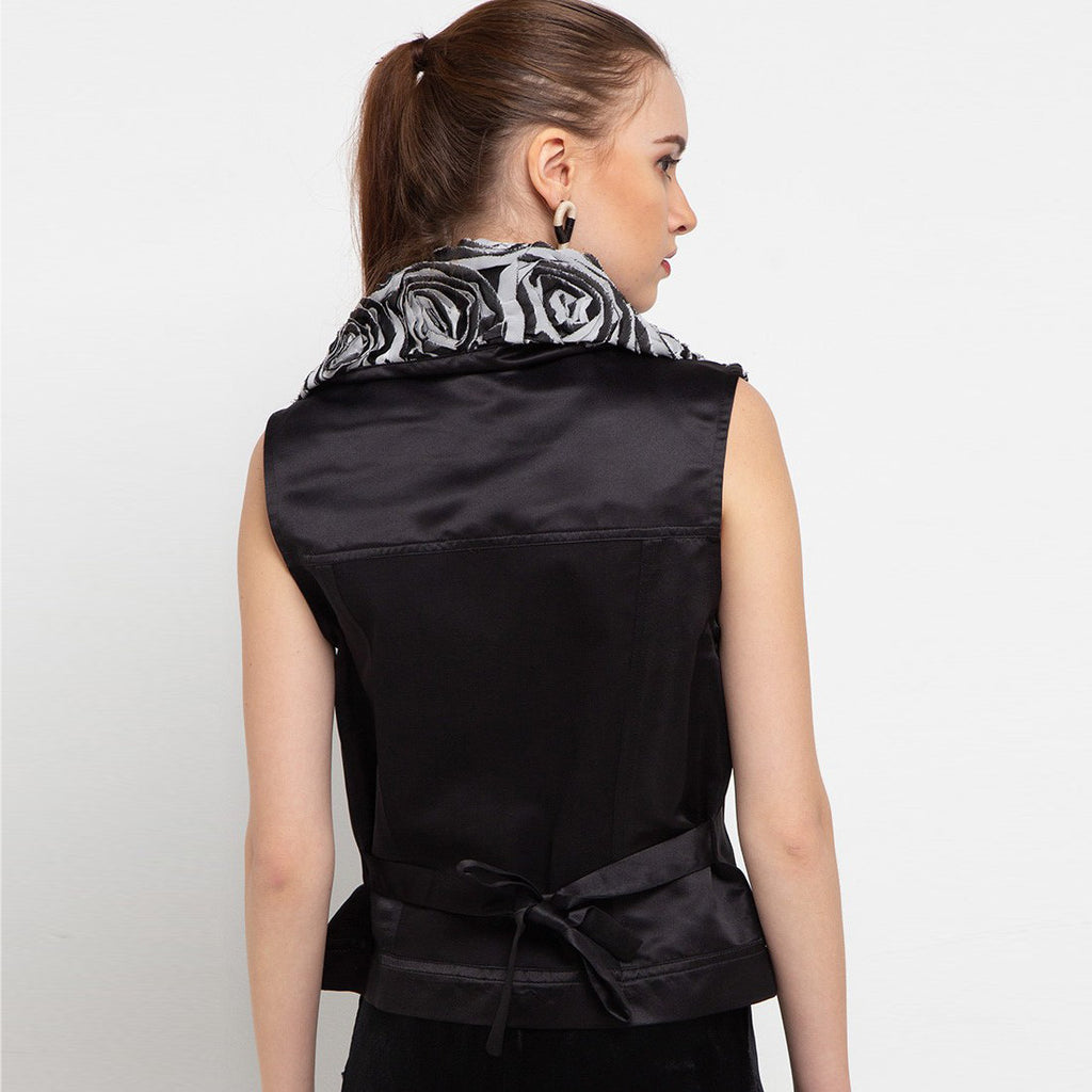 Fancy Vest With Silver Roses-2MADISONAVENUE.COM