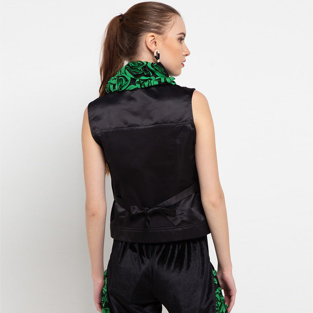 Fancy Vest With Green Roses-2MADISONAVENUE.COM
