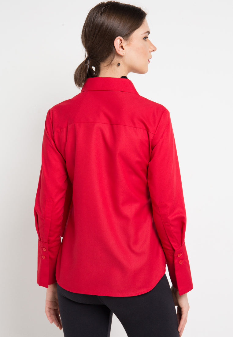 Fancy Blouse with attached Scarf in Red-2MADISONAVENUE.COM