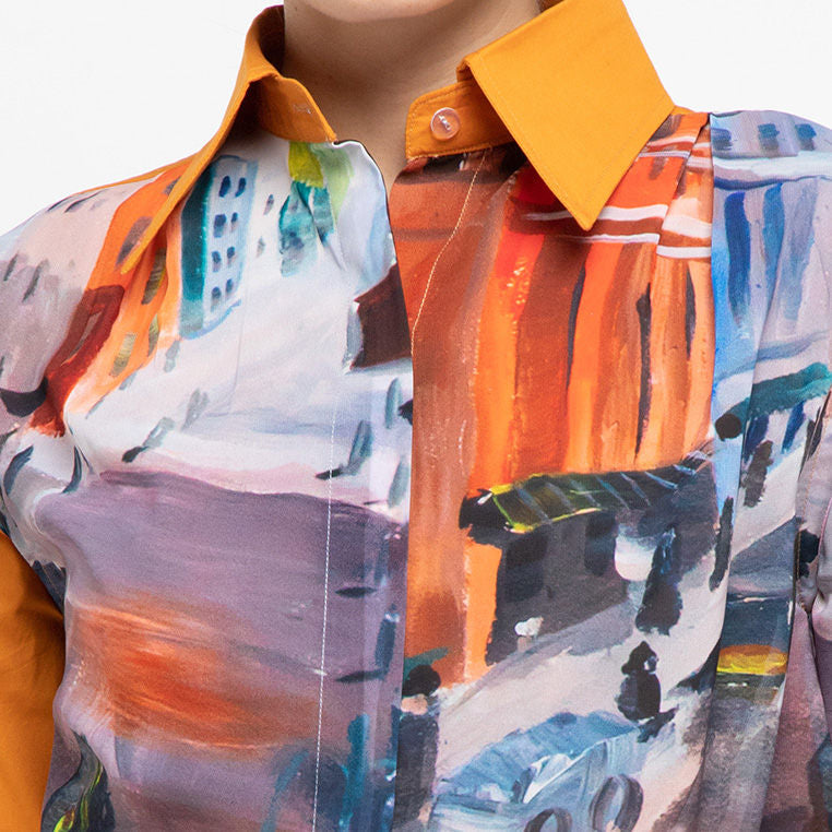 Ganger Shirt With Uptown Basic yellowish orange-2MADISONAVENUE.COM