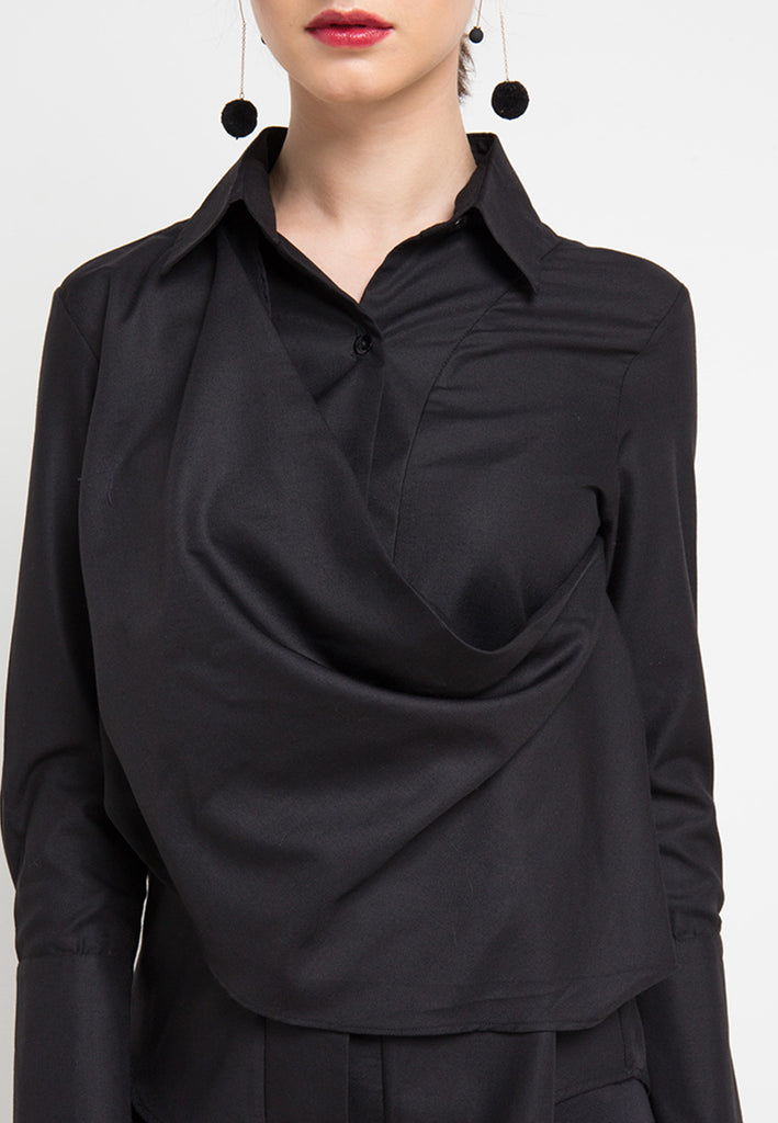 Fancy Blouse with attached Scarf In Black-2MADISONAVENUE.COM