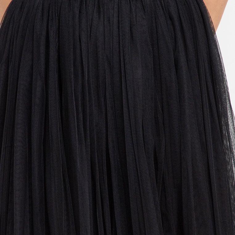 Queen Long Skirt With Tulle in Black With Gold Accent
