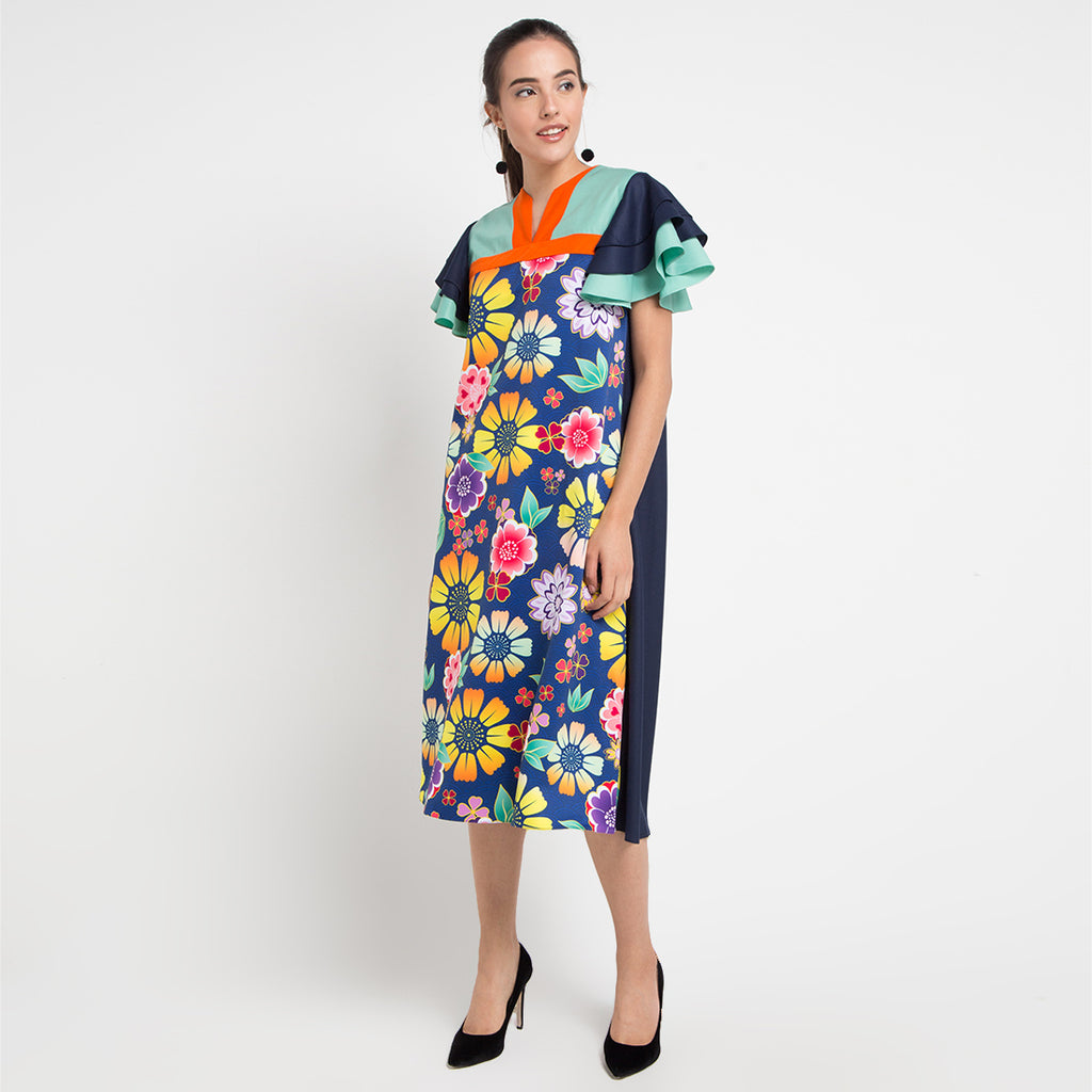 Kahlo Tango Long Dress in Orbital Floral-2MADISONAVENUE.COM