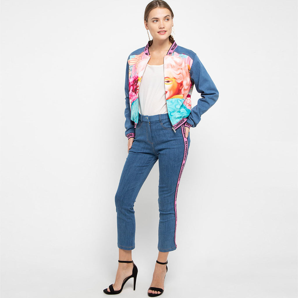 Queen Signature Pants In Blue With Ribbon-2MADISONAVENUE.COM