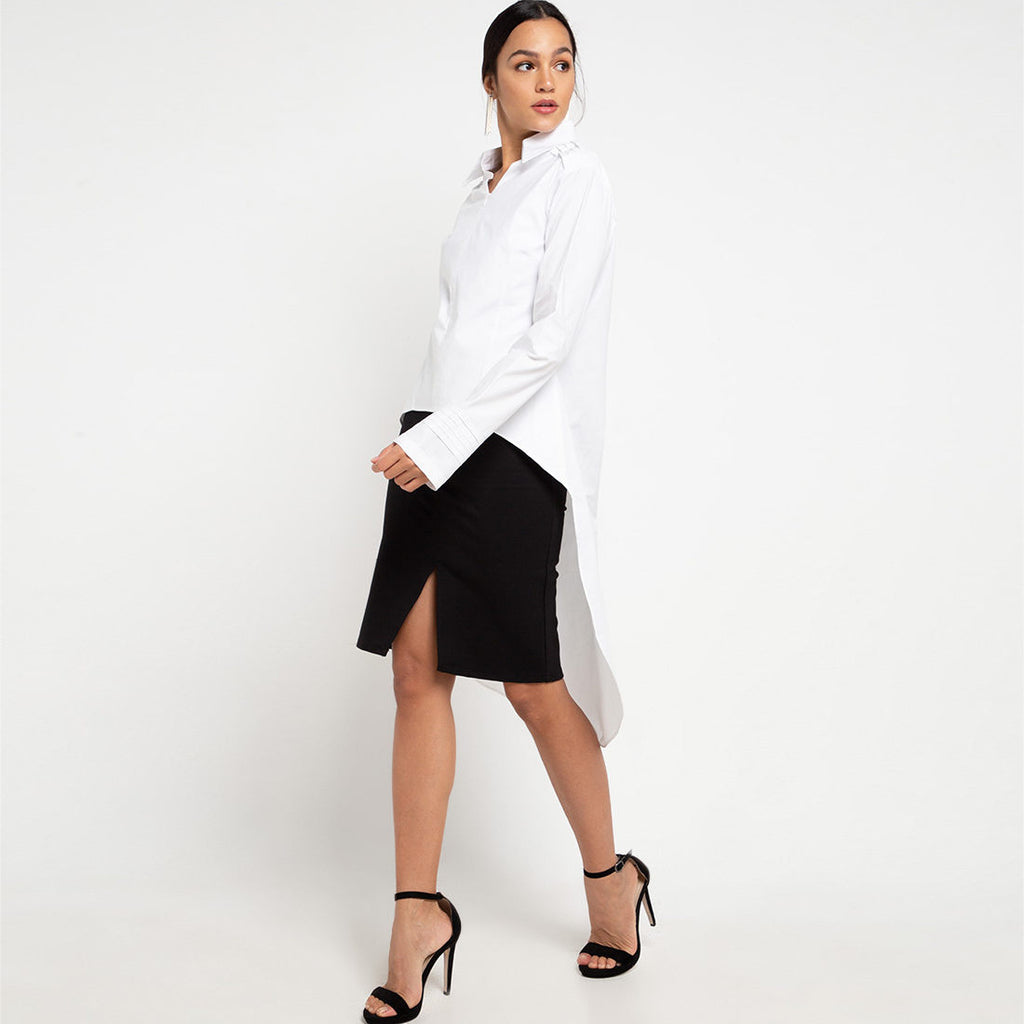 smart shirt with tail in white-2MADISONAVENUE.COM