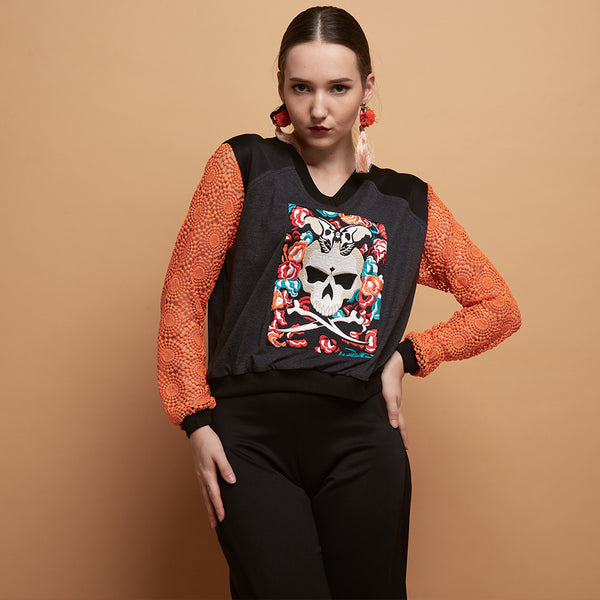 Gwen Sweater With Skull Embroidery #1-2MADISONAVENUE.COM