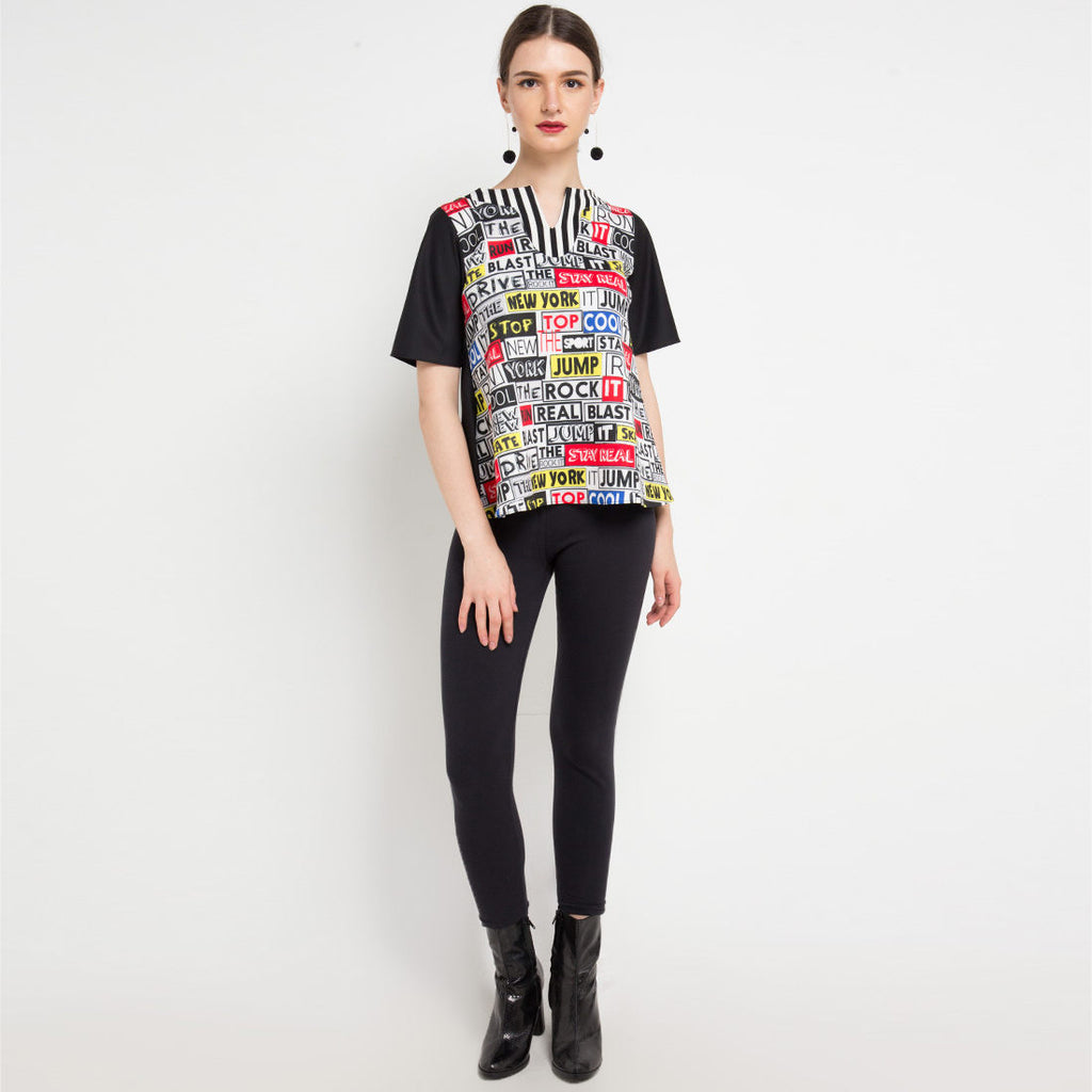 Brooklyn Short Sleeve Top with Grafitty Art-2MADISONAVENUE.COM
