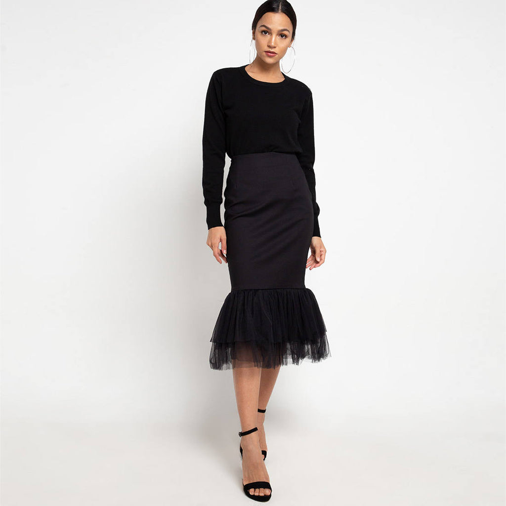 Mermaid Skirt with Black Tulle-2MADISONAVENUE.COM