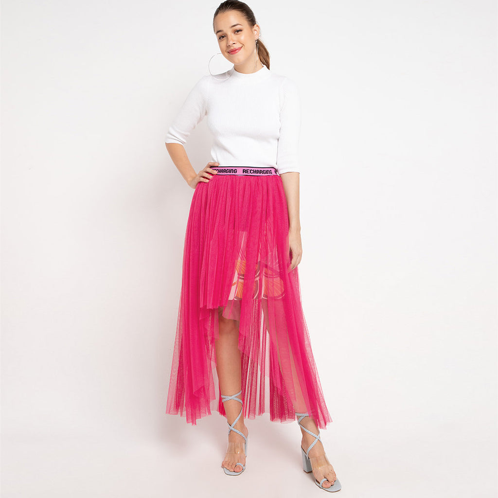 Fancy Long Skirt With Tulle in Pink-2MADISONAVENUE.COM