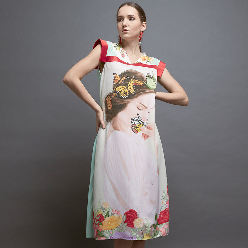 Gomez Dress With Motherland Art-2MADISONAVENUE.COM