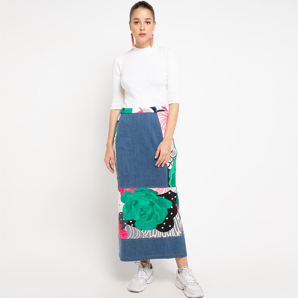 Gangsta Denim Skirt With Recharging Green-2MADISONAVENUE.COM