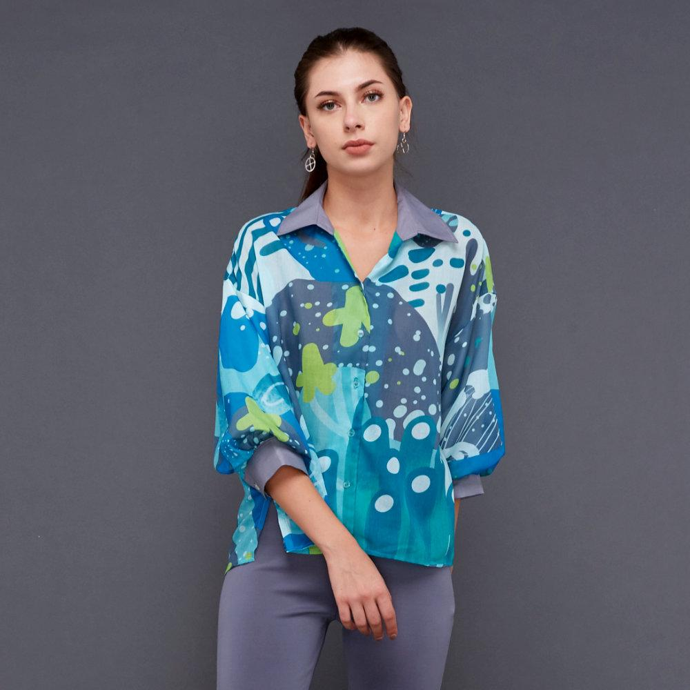 Liga Relax top with Baloon Sleeves in Aqua (4535510433815)