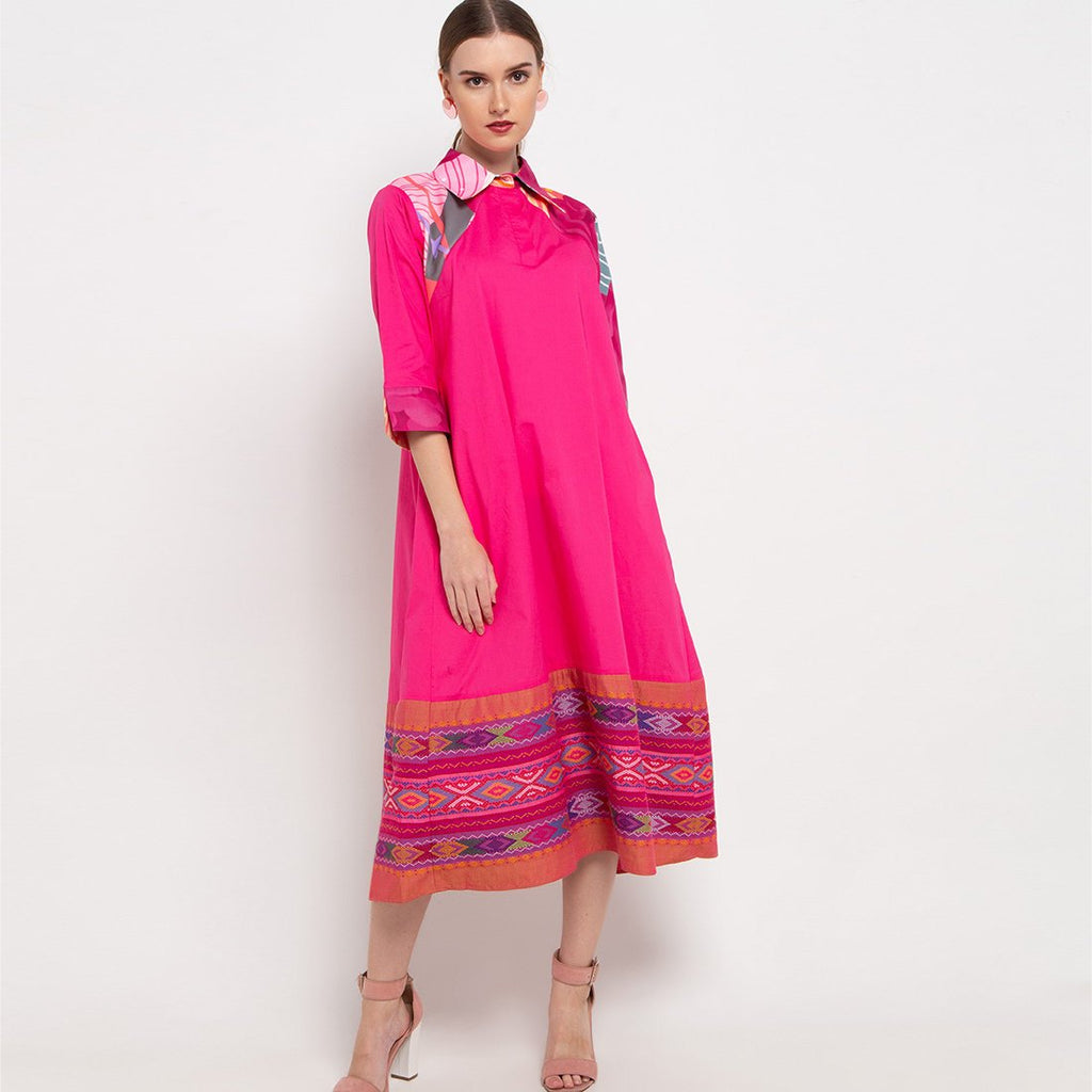 Bright Me Dress With Ulos in Pink-2MADISONAVENUE.COM (4368035315735)