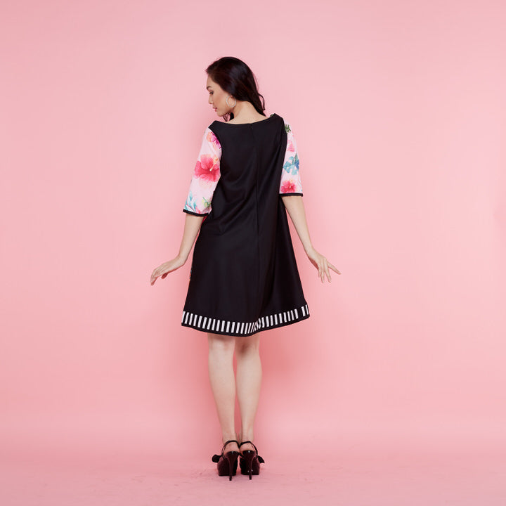 Jackie Dress With Frida Pink Bliss Mix Black-2MADISONAVENUE.COM