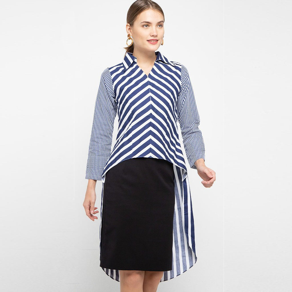 Smart Shirt with Tail in Stripe Navy Large-2MADISONAVENUE.COM (4326919405591)