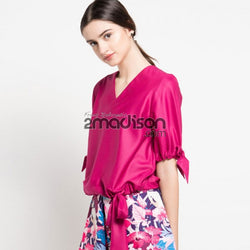 Cotton Blouse with Bow Tie in Fuchsia-2MADISONAVENUE.COM