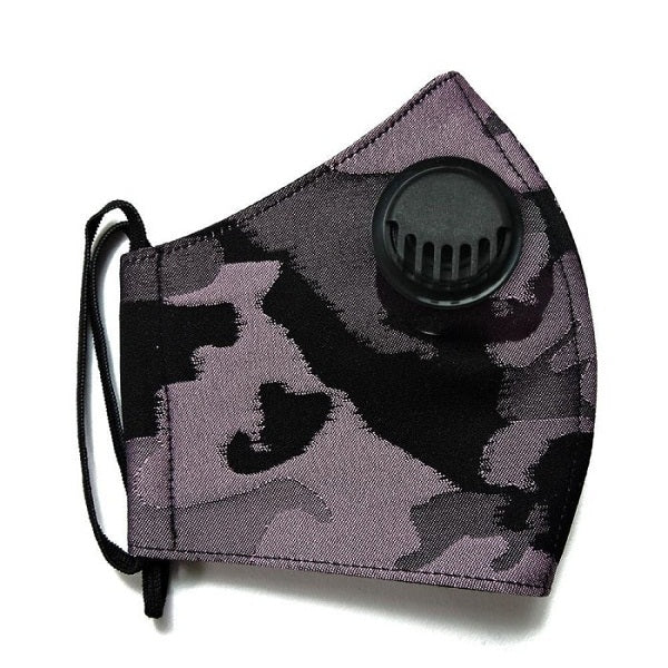 2Madison Army Purple Black Facemask With Air Valve (4488183709719)