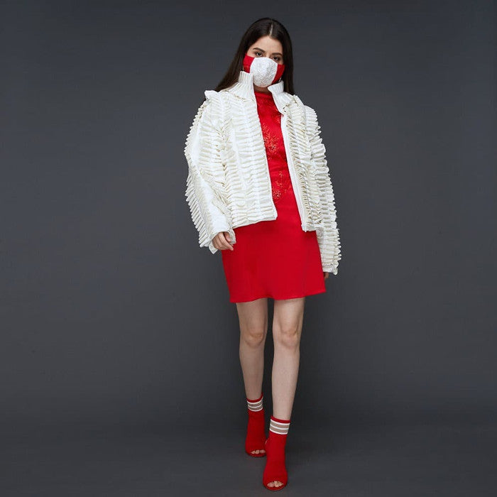 Destiny Ruffle Jacket In White