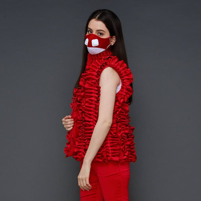 Destiny Ruffle vest In Red