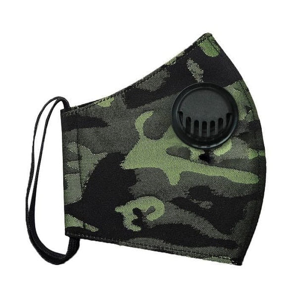 2Madison Army Green Black Facemask With Air Valve (4488182956055)