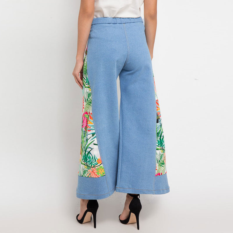 Boho Chic Denim Cullote with White Bliss-2MADISONAVENUE.COM