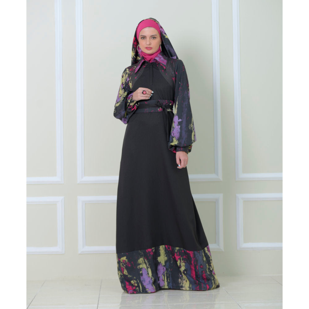Bright Me Dress With Abstract Black Reminiscence (6546989645847)
