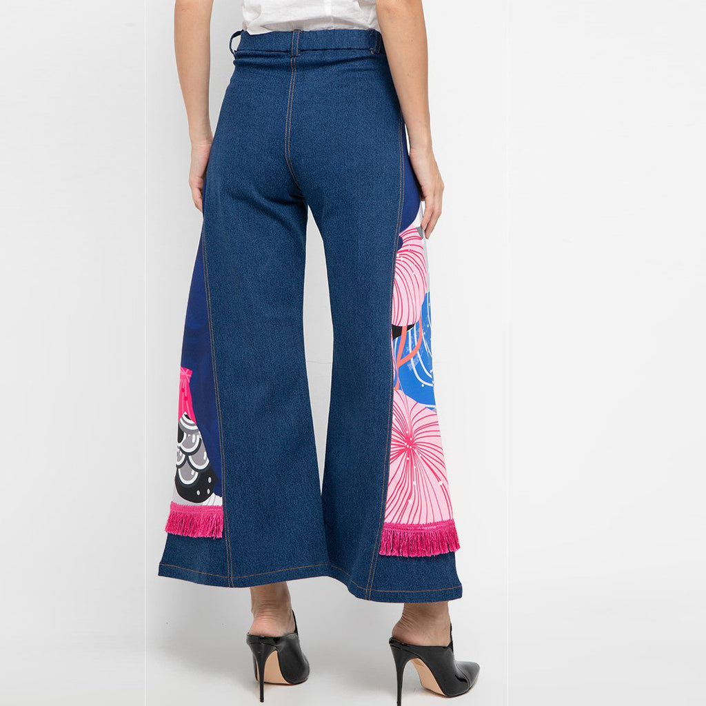 Denim Cullote Pants With Recharging Blue-2MADISONAVENUE.COM